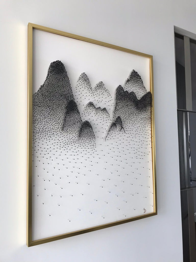 Beautiful Abstract Mountains on Unique Canvass For Sale 8
