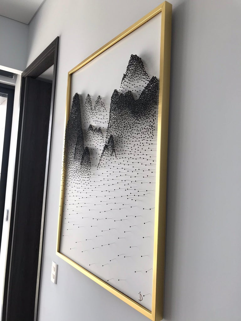 Beautiful Abstract Mountains on Unique Canvass For Sale 9