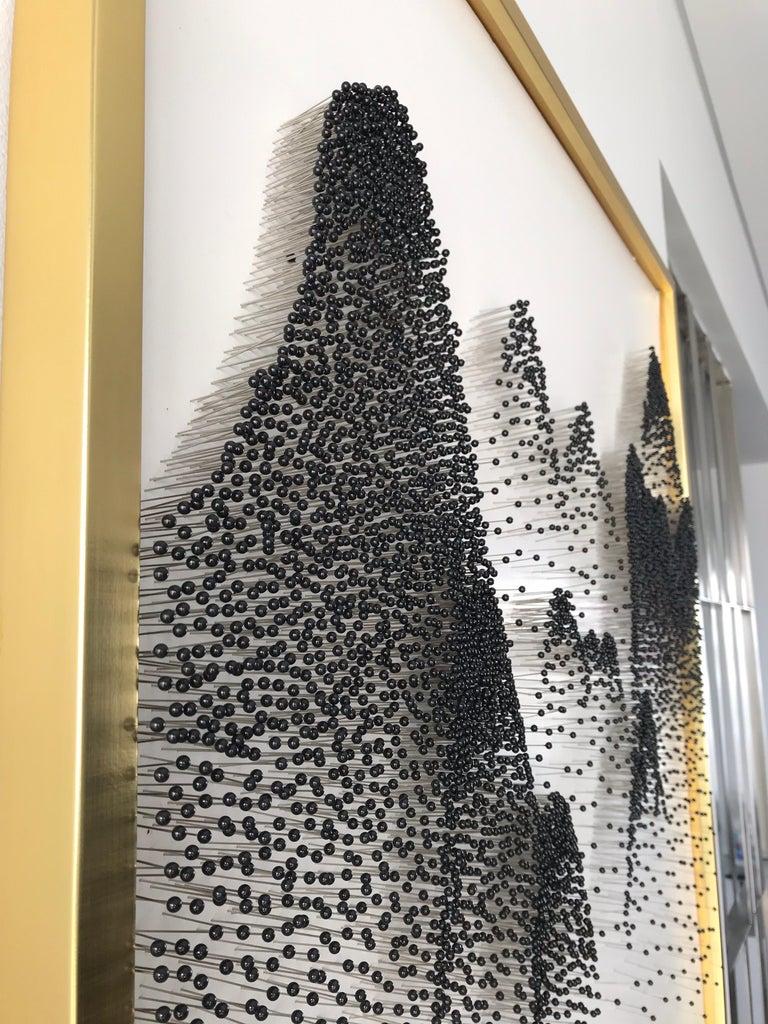 Beautiful Abstract Mountains on Unique Canvass - Sculpture by Arozarena De La Fuente