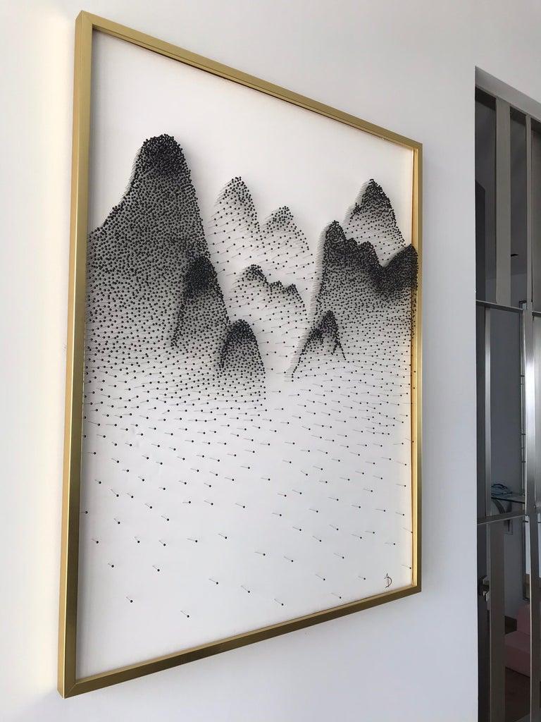 Beautiful Abstract Mountains on Unique Canvass - Contemporary Sculpture by Arozarena De La Fuente