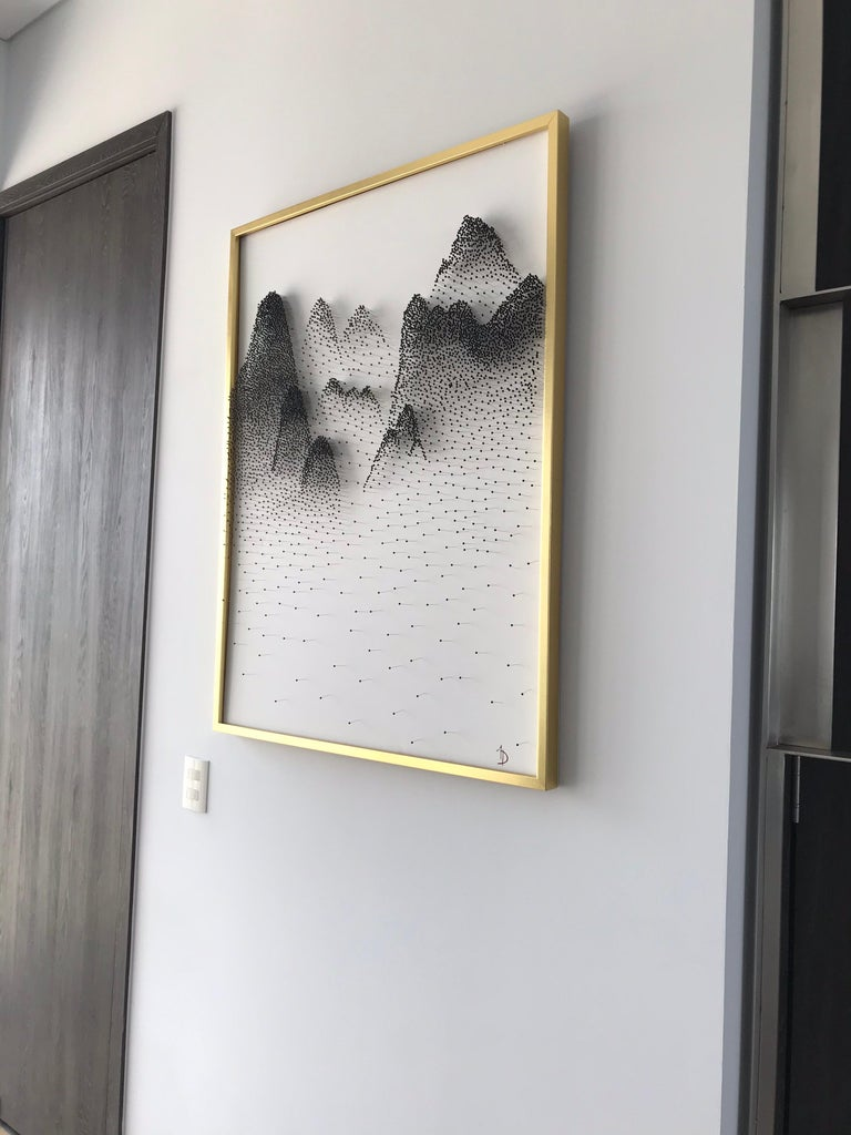 Beautiful Abstract Mountains on Unique Canvass - Gold Abstract Sculpture by Arozarena De La Fuente