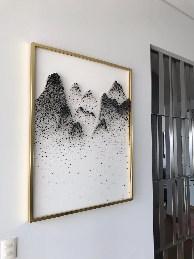 Beautiful Abstract Mountains on Unique Canvass For Sale 1