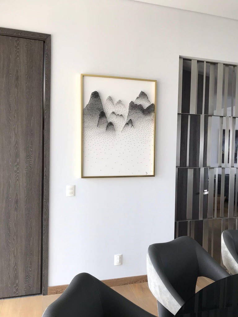 Beautiful Abstract Mountains on Unique Canvass For Sale 2