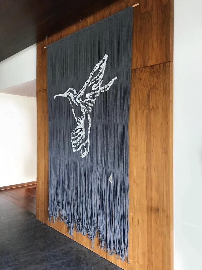 Elegant Handmade Hanging Hummingbird with Outstanding Color Combinations - Contemporary Painting by Arozarena De La Fuente
