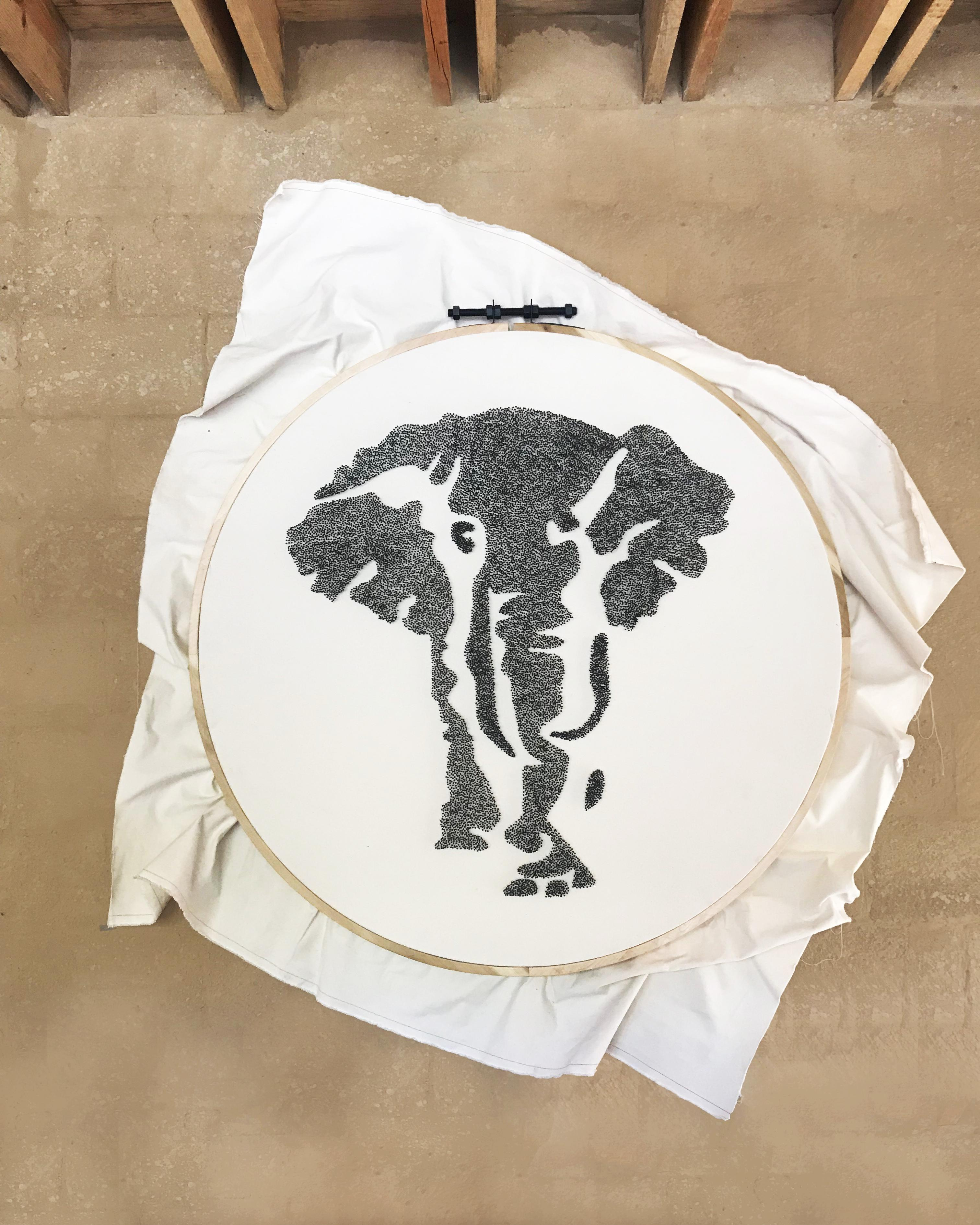 Beautiful Elephant Framed Fabric Sculpture Perfect for Walls