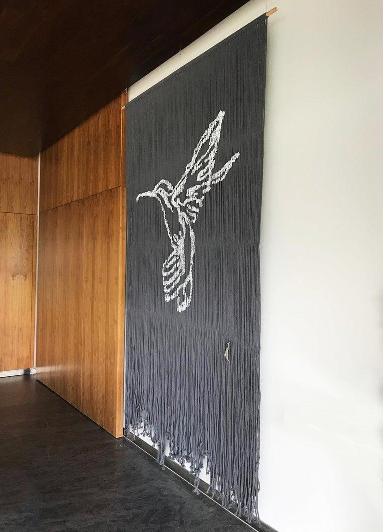 Elegant Handmade Hanging Hummingbird with Outstanding Color Combinations - Painting by Arozarena De La Fuente