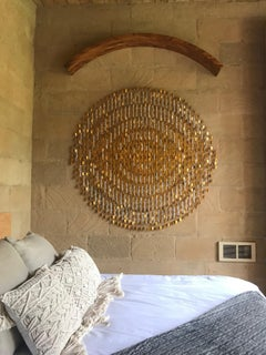 Elegant Pieces Forming 7 Concentric Circles Hanging from a Solid Wood Arch