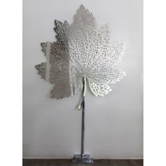 Maple Leaf. Handmade Modern Chrome Sculpture.