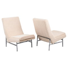 ARP Pour Steiner, Pair of Armchairs in Chromed Metal, 1950s