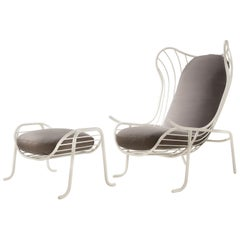 Arpa Armchair and Footstool with Brass Finish and Gray Upholstery Ready to Ship