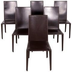 Arper Designer Leather Chair Set Brown Genuine Leather Armchair