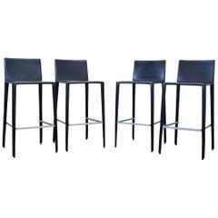 Arper Leather Bar Chair Set Black Modern Swiss Air Lounge Barstool
