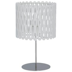 Arpoador Brazilian Contemporary Graphic Pattern Cut Wood Table Lamp by Lattoog