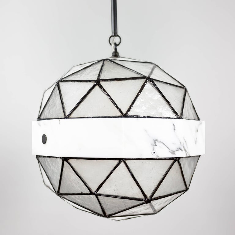 Modern Array_Single in Ice, Brass, Marble, Glass Contemporary Pendant by Kalin Asenov For Sale