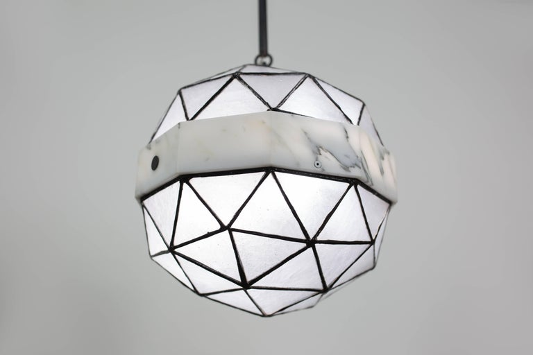 Array_Single in Ice, Brass, Marble, Glass Contemporary Pendant by Kalin Asenov For Sale 2