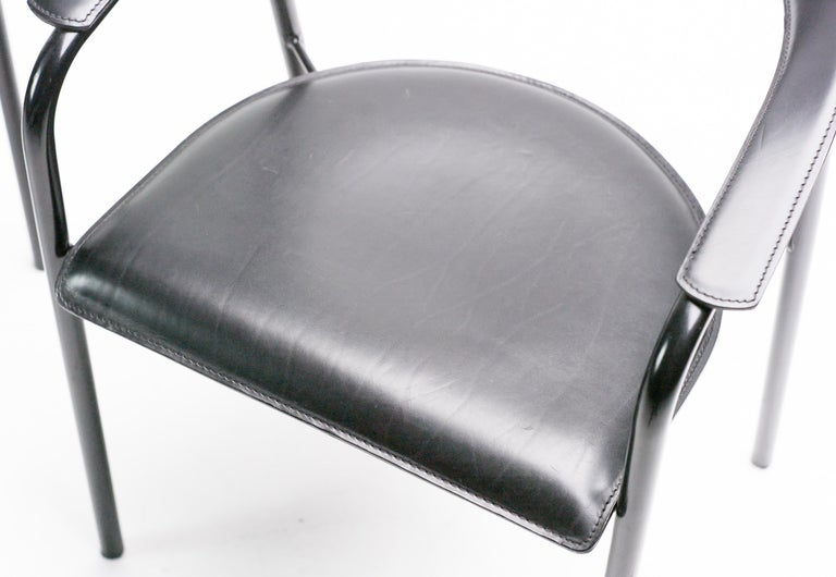 Modern Arrben Black Leather Armchairs For Sale