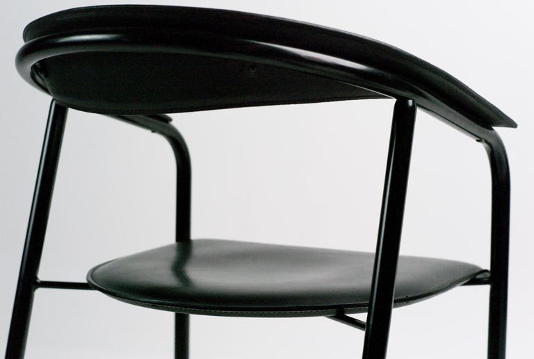 Enameled Arrben Black Leather Armchairs For Sale