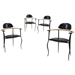 "Arrben Custom ""Stiletto"" Black and Saddle Leather Dining Armchair"