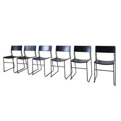 Arrben Italy, Set of Six Midcentury 'Sultana' Dining Chairs, Metal and Leather