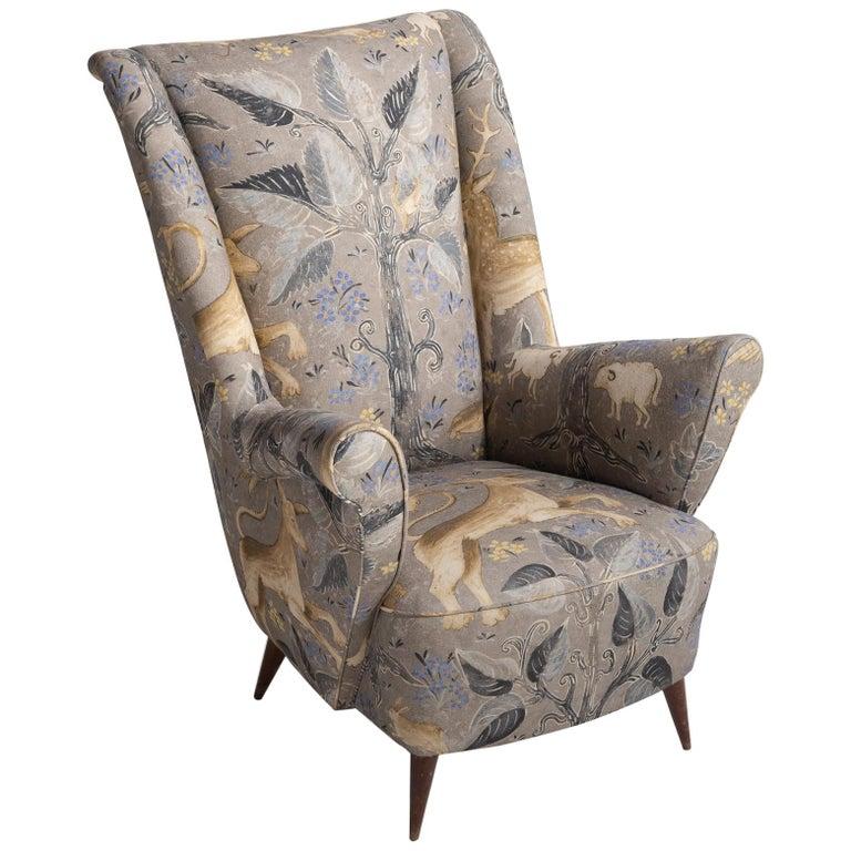 Arredamenti isa linen armchair italy circa 1950 for sale for Isa arredamenti