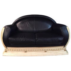 Arredo Cassic Designer Sofa  in Art Deco Style Black Leather
