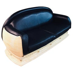 Arredo Classic Design Sofa in Art Deco Style Black Leather