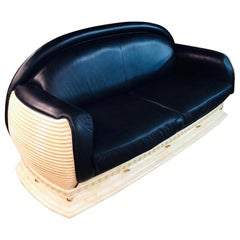 Arredo Classic Design Sofa in Art Deco Style Black Leather Made in Italy