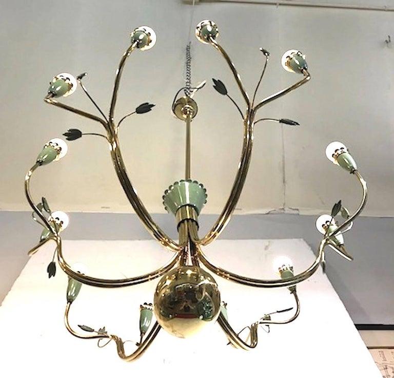 Arredoluce 1950s Brass and Green Enamel Chandelier by Angelo Lelli For Sale 3