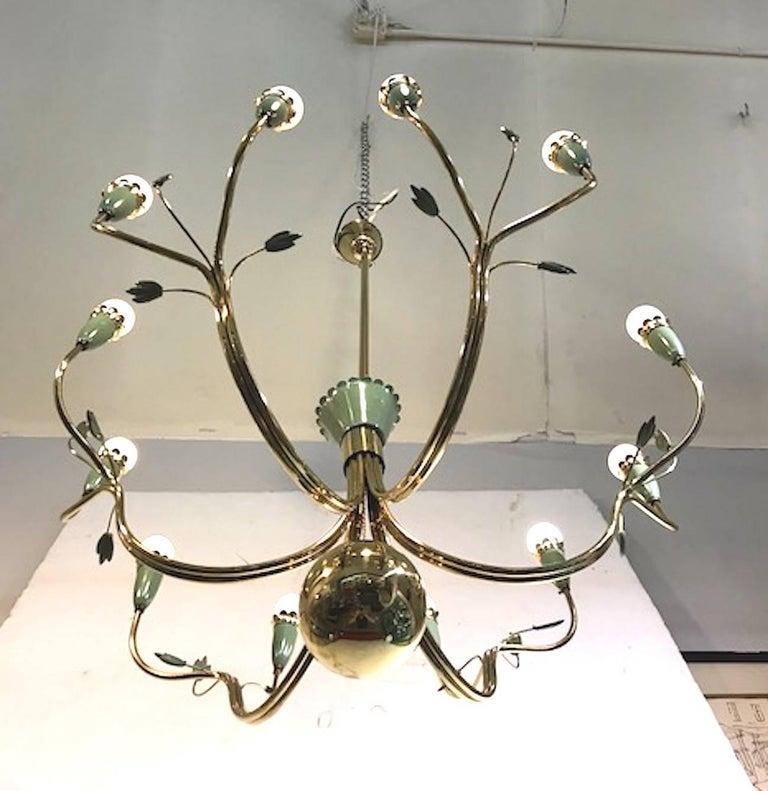 Mid-Century Modern Arredoluce 1950s Brass and Green Enamel Chandelier by Angelo Lelli For Sale