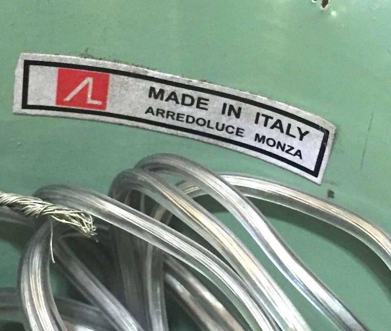 Arredoluce 1950s Brass and Green Enamel Chandelier by Angelo Lelli For Sale 1