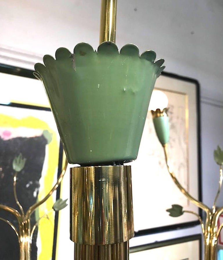 Arredoluce 1950s Brass and Green Enamel Chandelier by Angelo Lelli For Sale 2
