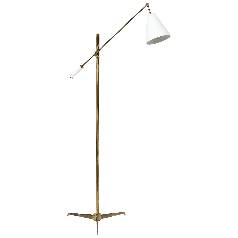 Arredoluce Adjustable Reading Floor Lamp in Brass and Aluminium, Italy, 1950s