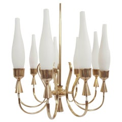 Arredoluce, Angelo Lelii Super Elegant 9 Arms Bass and Opaline Glass Chandelier