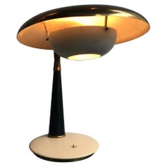 Arredoluce Angelo Lelii Table Lamp Brass Glass Leather Lacquered Metal 1956 Ital