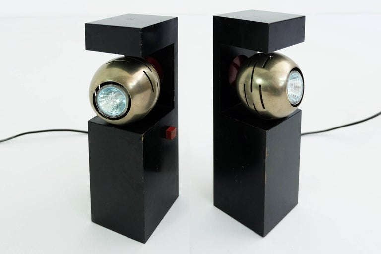 Mid-Century Modern Arredoluce, Angelo Lelii, Table Lamps Mod 12918 Contrast, 1962, Italy For Sale