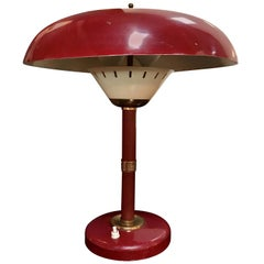 Arredoluce Attributed Table Lamp 1950s Whit Original Red Leather