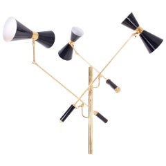 Arredoluce Brass and Black Lacquered Double Reflectors, Triennale Floor Lamp