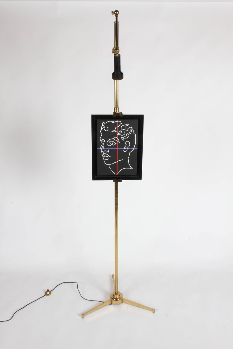 Arredoluce Brass Art Easel with Lamp by Angelo Lelli In Good Condition For Sale In St. Louis, MO