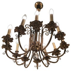 Arredoluce Chandelier 12 Lights 1950 Brass, Italy