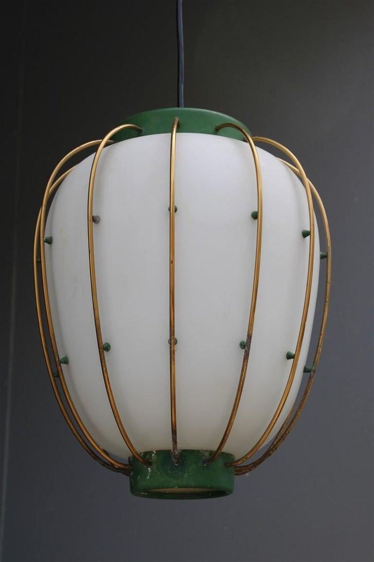 Arredoluce chandelier Italian mid-century design green brass gold white glass. Measures: Glass height cm.33.