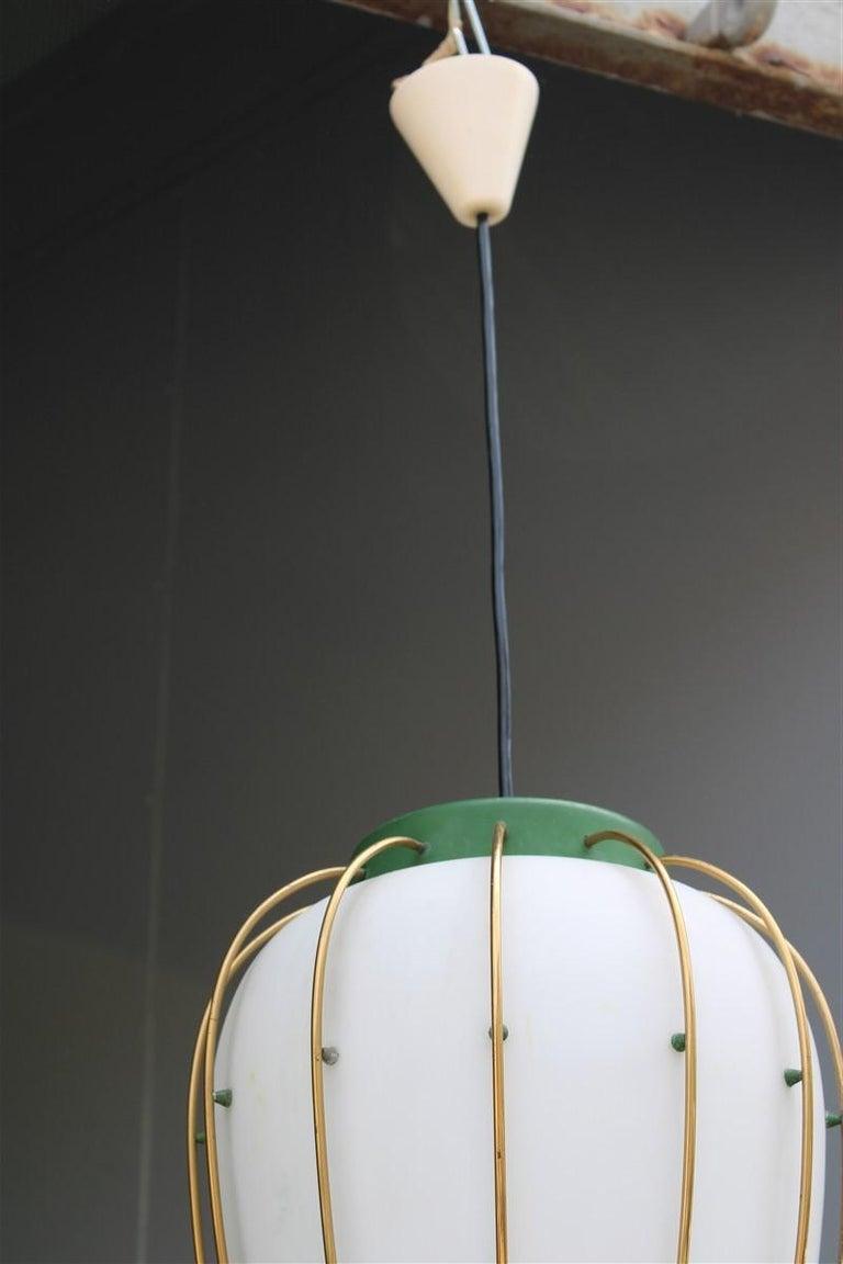 Mid-Century Modern Arredoluce Chandelier Italian Mid-Century Design Green Brass Gold White Glass