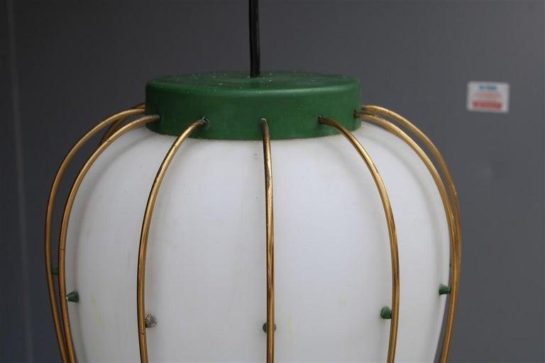 Mid-20th Century Arredoluce Chandelier Italian Mid-Century Design Green Brass Gold White Glass