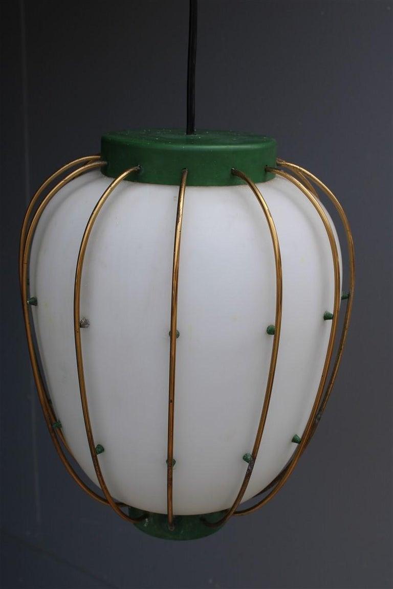 Arredoluce Chandelier Italian Mid-Century Design Green Brass Gold White Glass 1