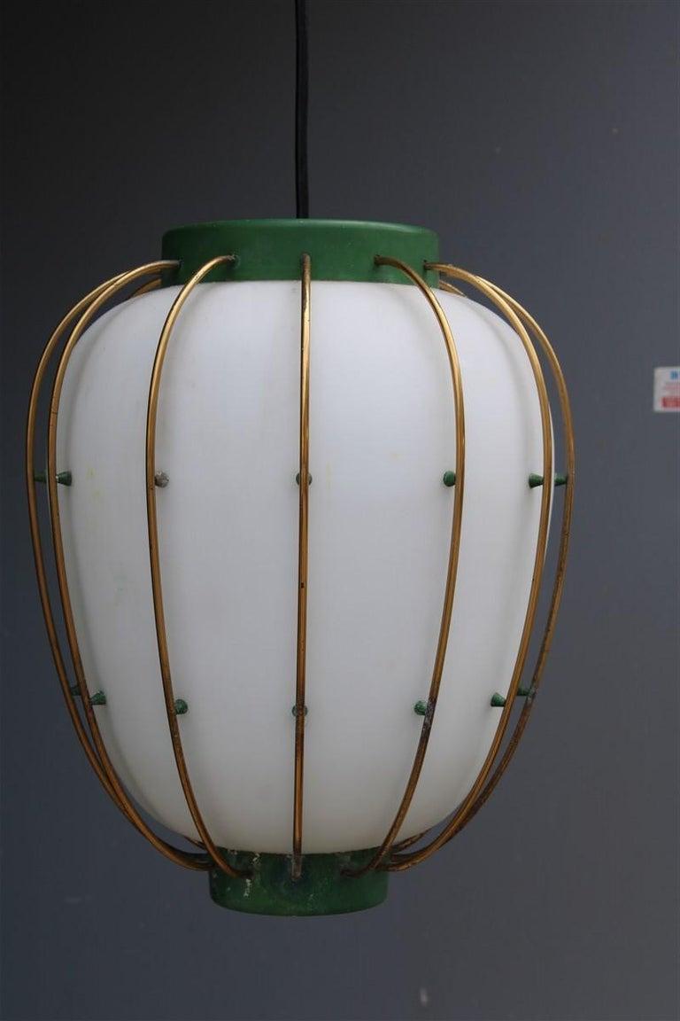 Arredoluce Chandelier Italian Mid-Century Design Green Brass Gold White Glass 2