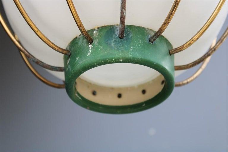Arredoluce Chandelier Italian Mid-Century Design Green Brass Gold White Glass 3