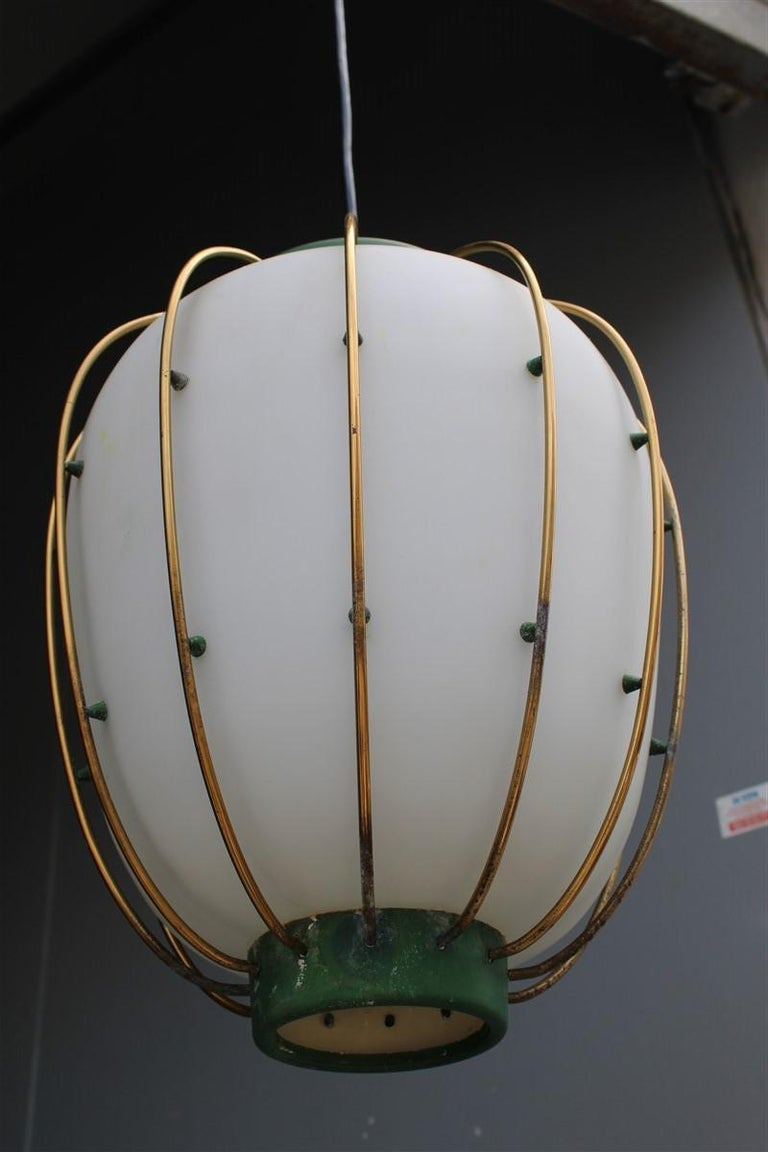 Arredoluce Chandelier Italian Mid-Century Design Green Brass Gold White Glass 4