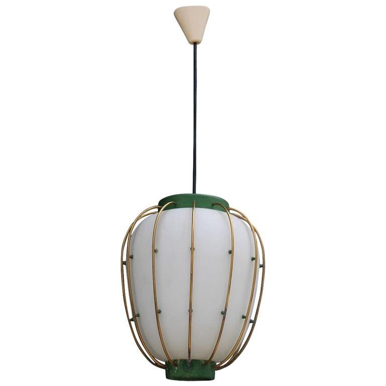 Arredoluce Chandelier Italian Mid-Century Design Green Brass Gold White Glass