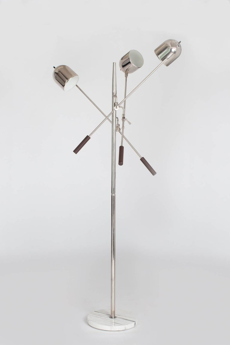 Mid-Century Modern Arredoluce Style Chrome and Marble Triennale Floor Lamp, Italy 1960's For Sale