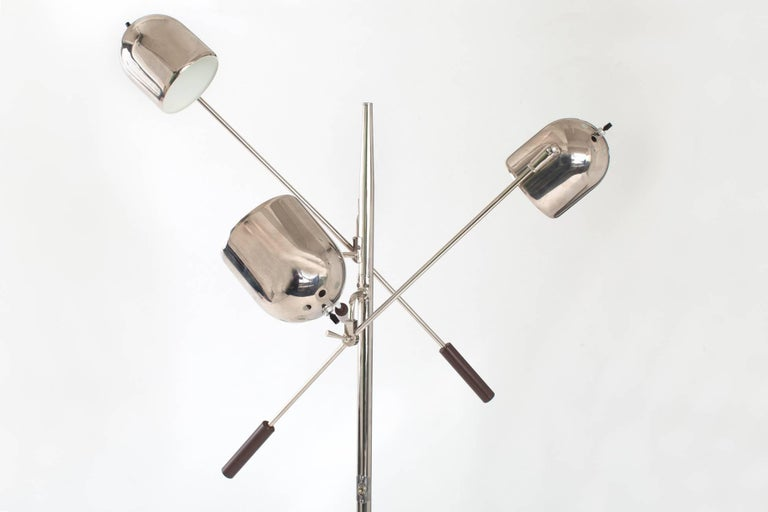 Arredoluce Style Chrome and Marble Triennale Floor Lamp, Italy 1960's In Excellent Condition For Sale In New York, NY