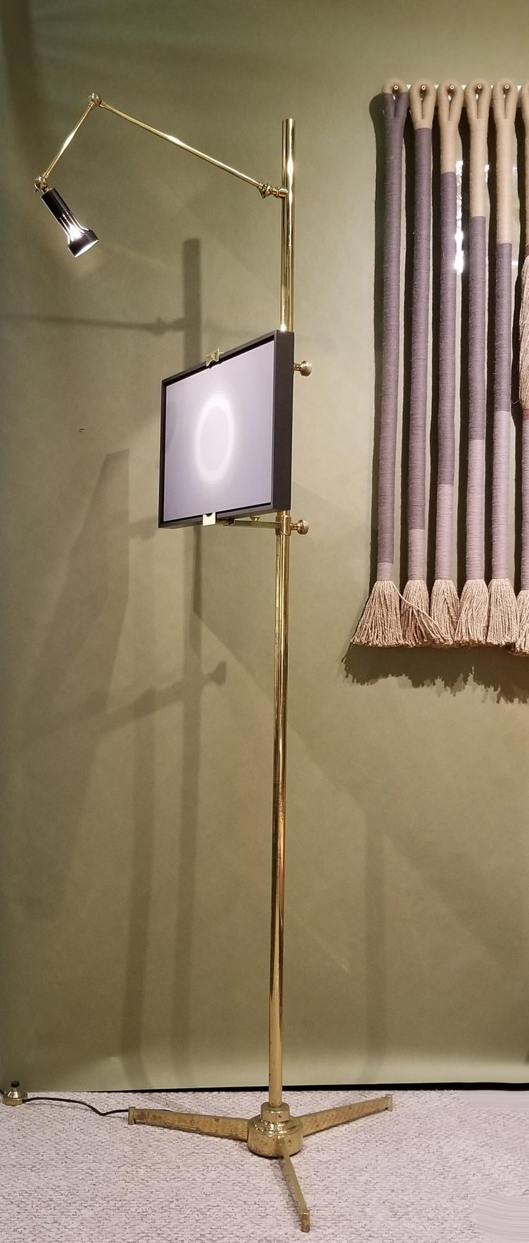 Mid-Century Modern Arredoluce Easel Lamp by Angelo Lelii in Solid Brass, 1950s For Sale